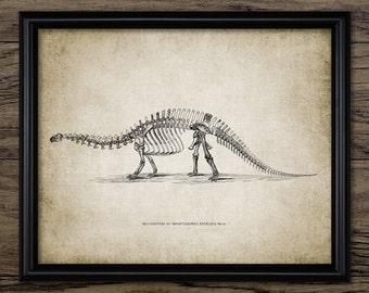 Brontosaurus Skeleton Anatomy - Sauropod Dinosaur - Paleontology - Brontosaurus Extinct Animal Art - Single Print #2182 - INSTANT DOWNLOAD