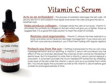 Vitamin C Serum, Anti Aging Serum, Youthful Skin Serum, Anti Aging Skin Care, Natural Skin Care, Vitamin E, L-Ascorbic Acid Serum, Skin Care
