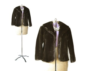 Faux Fur Coat, Faux Fur Jacket, Faux Mink Shrug Stole Vegan Fur Jacket, Womens Fur Coat Black Faux Fur, Brown Fur Coat, Short Jacket, Medium