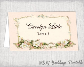 Greenery Place Card Template Printable Place Cards Wedding - Wedding name tag template