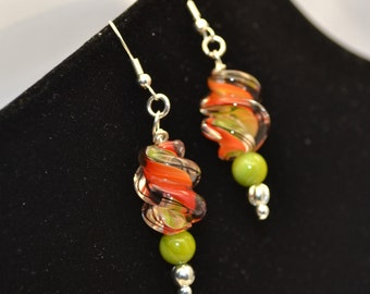 Orange earrings, Orange and Green Earrings,Tangerine orange earrings danble