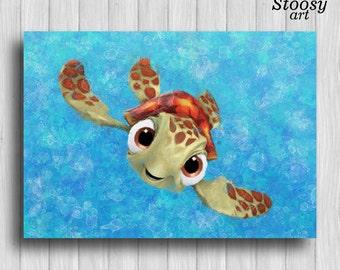 squirt turtle print finding nemo decor nautical watercolor nursery wall art