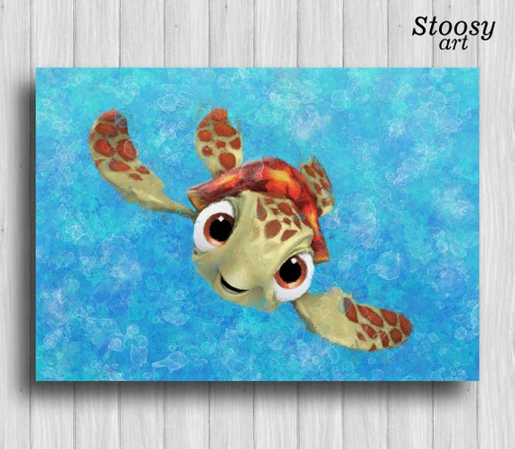 Squirt Turtle Print Finding Nemo Decor Nautical Watercolor