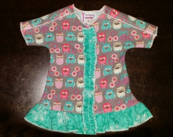NICU Approved Ruffled Gown - Tiny Owls - Micro Preemie Clothes - Preemie Clothes