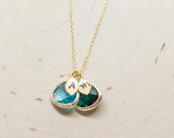 Birthstone Necklace, Initial Necklace, Birthstone Jewelry, Family Jewelry, Personalized Mom necklace / 342\