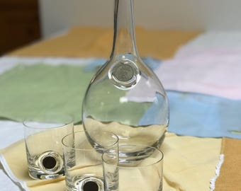 Italian blown Glass decanter with 3 glasses