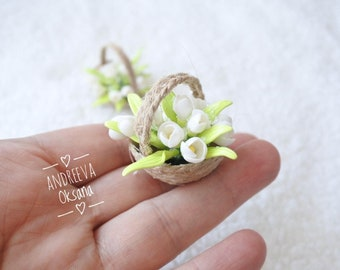 Snowdrops. Miniature bouquet. Miniature. Miniature Flowers. Polymer Clay. Dollhouse