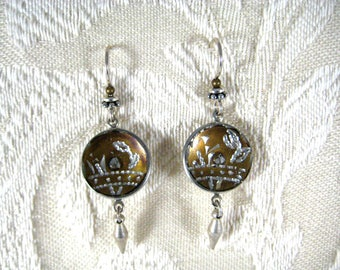 VICTORIAN PEWTER BUTTON Earrings