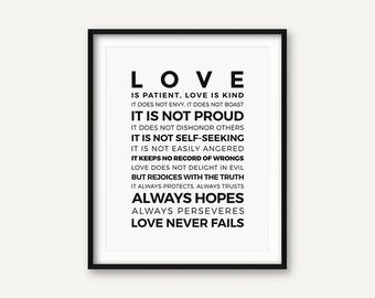 Bible Verse Print, 1 Corinthians 13 4-8, Bible Print, Love is Patient, Bible Art, Scripture Print, Christian Print, Black and White Print