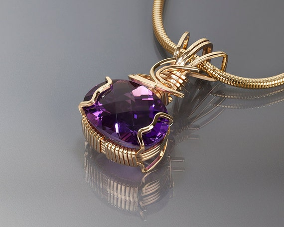 Amethyst gold pendant amethyst wire wrapped jewelry gold mozeypictures Gallery