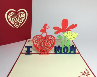 I Love Mom - Pop Up Mother's Day Card - Mom Birthday Gift - Pop Up Birthday Card For Mom - Thank You Mom Greeting Card - Mom Get Well Card