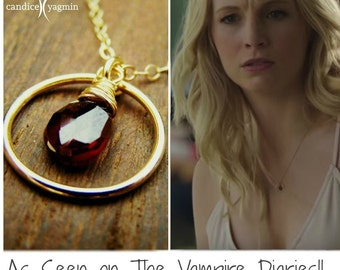 Vampire Diaries Necklace - Garnet Gemstone Wire Wrapped Briolette Teardrop Necklace - January Birthstone - Garnet Necklace