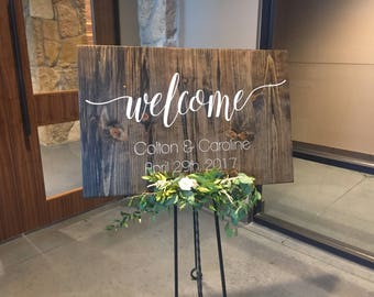 Wood Wedding Welcome Sign, Welcome, Wedding, Marriage, Wedding Date, Ceremony Sign, Entrance Sign
