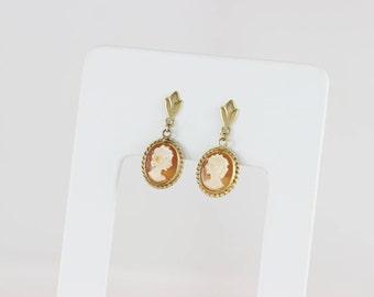 14k Yellow Gold Cameo Earrings Dangle Drop Earrings