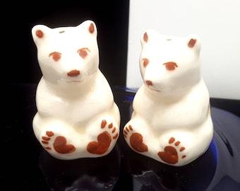 Vintage 50s Glazed Ceramic Polar Bear Salt and Pepper Shaker Set