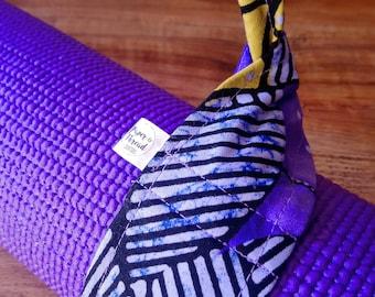 Adjustable Cotton Yoga Mat Strap, Yoga Mat Sling, Pilates Mat Sling, Pilates Mat Strap, Pilates, Towel Carrier, Purple, Yellow, Batik