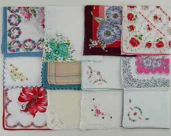 Vintage Hanky Lot,Hanky Lot,One Dozen Assorted Vintage Hankies Handkerchiefs,Vintage Hankies (Lot #A14)
