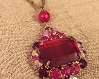 Red Rhinestone Pendant Necklace, Aurora Borealis Rhinestone Necklace, Vintage