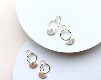 Dangle earrings Minimalist earrings Polymer clay jewelry Statement earrings Geometric earrings Small earrings Gift for women