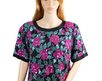 Vintage 1980s Pink Sequin Flower Jean for Joseph Le Bon Silk Top