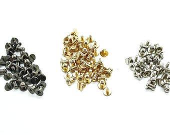 50 x 8mm Chicago Screw Back Rivet Nipple Head Round Brass Stud Leather Crafts