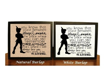 Peter Pan Quote, Neverland, JM Barrie, Place Between Sleep Quote, Nursery Gift, Baby shower Gift, Peter Pan Birthday, Peter Pan Nursery