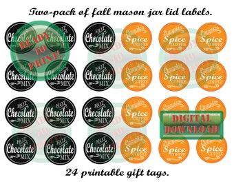 24 Mason Jar Lid Printable Fall Bonus Set ~ Black Chalkboard Style Hot Chocolate & Orange Pumpkin Spice Coffee Mix Gift Party Favor Labels