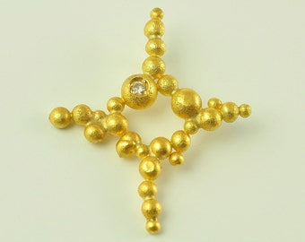 22K Solid Gold, Handcrafted Cross with Diamond, No.074-30