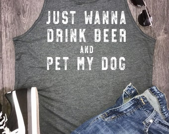 drink beer and pet my dog mens tank, dog tank, mens dog tank, dog dad, dog lover, dog tank top, dog dad af, pet dogs, dog shirt, dog bar