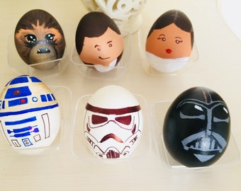 Inspired Star Wars Fanart easter egg Darth Vader Han Solo Leia Chewbacca R2D2 Stormtrooper Egg Easter decoration Chibi Kawaii cute Fantasy