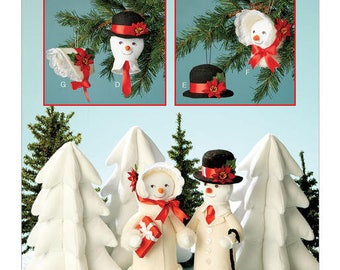 Sewing Pattern for Holiday Decorations, Butterick Pattern 6535, Christmas Pattern, Snowman Ornaments, Snowman, Snowlady, Stuffed Winter Tree