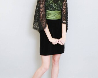 Vintage 1960's Green and Black Lace Velvet Mini Dress