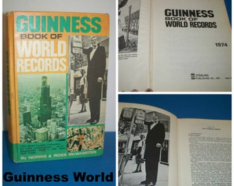 """Vintage Wonderful 1974 """" Guinness Book of World Records"""" Mc Whirter, Sterling Publisher / All time Records Book of 1974 / Hardcover Book"""