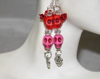 Day of the Dead Earrings, Pink and Red Turquoise Skull Jewelry, Day of the Dead Jewelry, Rockabilly Jewelry, Halloween Jewelry