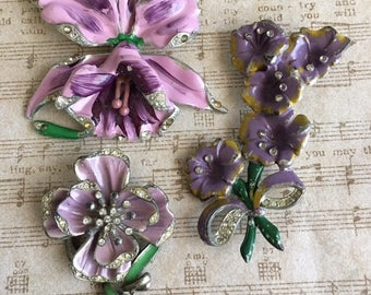 Trio of 1940's Enameled Floral Pins