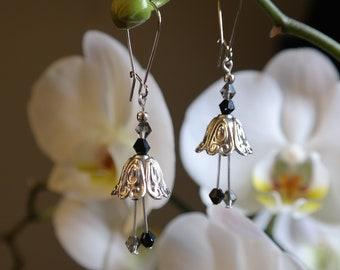Silver and Black Fairy Flower Earrings