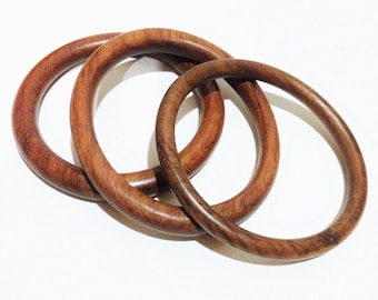Bangles - trio of simple  wooden bangles with different profiles