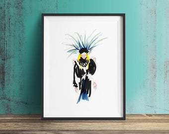 INDIANA Art Print, Limited Edition, Fashion Illustration, Wall Art, Decor, Drawing, inspired by Txell Miras.