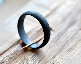 Men's Oxidized Sterling Silver Wedding Band. 5mm Black Ring | Grey Ring. Modern | Contemporary | Simple| Handmade