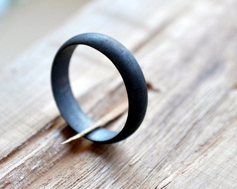 Non Metal Wedding Bands >> Men S Oxidized Sterling Silver Wedding Band 5mm Black