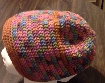 Burnt orange/ variegated Slouch hat