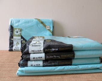 Vintage Aqua Flat Sheets by Fashion Manor - Penn-Prest - Twin Percale Sheet