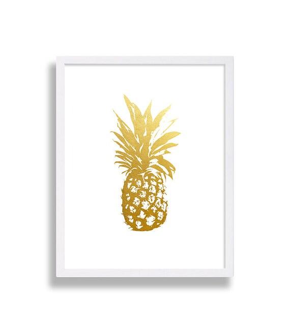 Gold Pineapple Print Faux Foil Minimalist Art