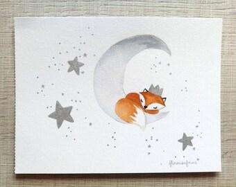 Little Fox on the silvery Moon