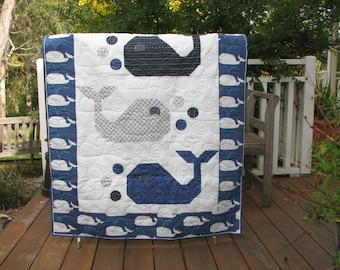 Cot quilt - I Love Whales