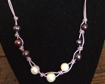 Freshwater Pearls, Leather and Sterling Silver Necklace