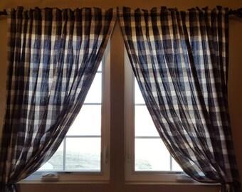 Black White Buffalo Plaid Curtain Panels or Valance