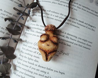 Venus of Willendorf, Goddess Necklace, Fertility Necklace, Pagan, Wiccan, Polymer Clay Statue