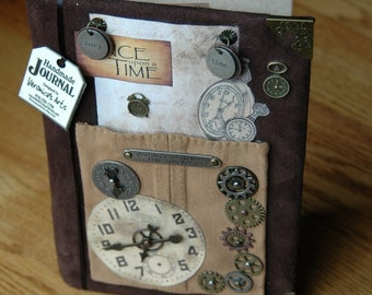 Handmade Journal ONCE UPON A TIME - Suede Leather - Notebook - Diary - Sketchbook - Vintage Designed