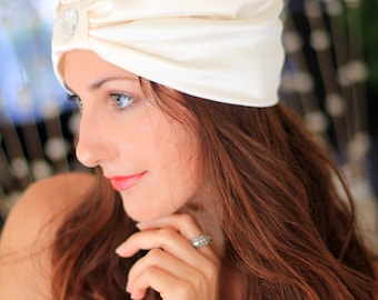 Satin Turban with Heart Jewel by Mademoiselle Mermaid - Ivory, Black, or White